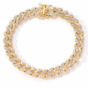 Bling Chain unisex Cuban Link Bracelet brass with 14k gold plating cubic zirconia stone Hiphop Jewelry