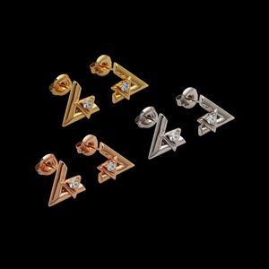 Neue extravagante Design Ohrringe Frauen Gold Rose Silber Ohrring mit Diamant Ohrringe Stud Edelstahl Schmuck Großhandel Preis