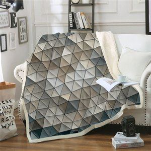 Abstract Geometry Plush Blanket Youth Fashion Quilts 3D Print Sherpa Fleece Throw Blanket Home Office Washable Bedspread