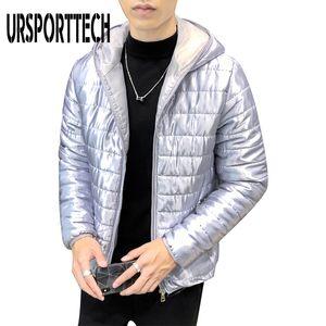 URSPORTTECH New Men Winter Jacket Casual Thick Warm Glossy Jacket Men Luxury Outwear Windproof Waterproof Hooded Parkas Coat Men Y1112