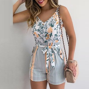 women's Jumpsuit Sexy Sling Playsuit Women V-neck With Fashion Printed Small Flash Jumpsuit Female Slim Stripes Tie New