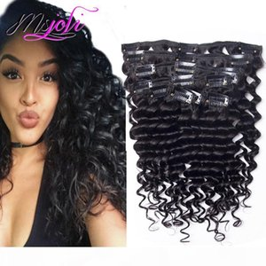 Brazilian Unprocessed Deep Wave Curly 10-28 Inch Clip in Hair Extensions 7Pcs 140g Full Head Peruvian Remy Human Hair