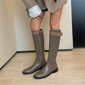 Hot Sale-PXELENA 2020 Autumn Winter knee High Knight Boots Women Real Genuine Leather Buckle Zip Low Heels Riding Motorcycle Shoes Lady
