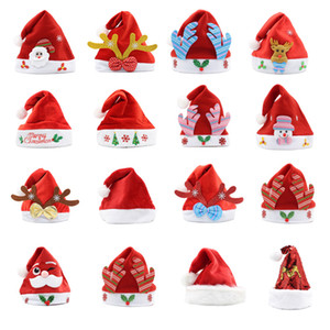 2020 Christmas Hat Soft Plush Santa Red Accessories Decorations Holiday Party Gift New Year Cartoons Non-woven Fabric Adult Kid Child LED