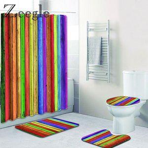 Zeegle Modern Geometric Pattern Polyester Shower Curtain Set Non Slip Rugs Carpet for Bathroom Toilet Flannel Bath Mat Set 4pcs