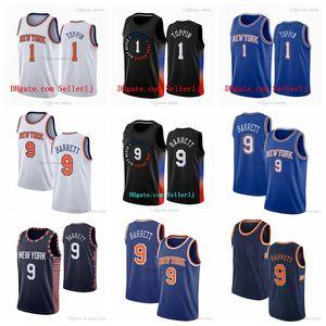 1 OBI Toppin Newyork 9 RJ Barrett 2020-21 Black City Basketbol Forması