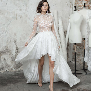 Sexy High Low Wedding Dresses 2021 A Line Backless Vestidos De Novia Lace Applique Customize Sweep Train Long Sleeve Bridal Gowns
