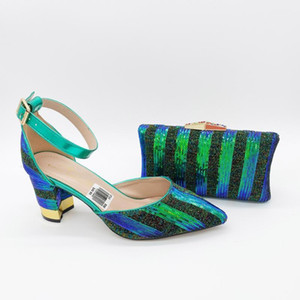 Gold Strip Fashion Italian Shoes With Matching Clutch Bag Hot African Big Wedding With High Heel Sandals and Bag Set Party Shoes1
