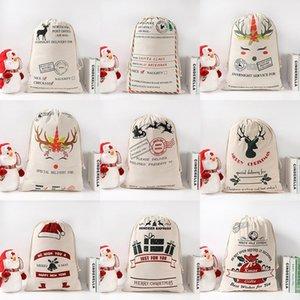 Gift Bags Cotton Canvas Sacks Monogrammable Santa Sack Drawstring Bag Christmas Decorations DHA2241