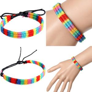 Rainbow Bracelet Boho Beach String Adjustable Braided Rope Bracelets Jewelry Handmade Woven Couples Bangle for Women Men Kimter-L961FA