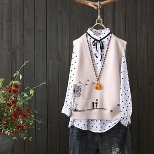 Fashion Embroidery V neck Knitted Sweater Vest Female Literary Fan Loose Sleeveless Cartoon Pattern Sweater Vest Women Spring