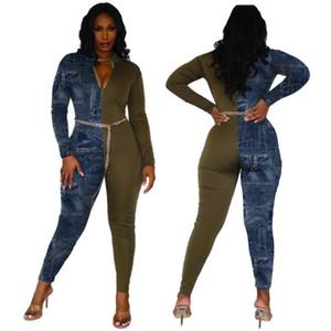 Casual Renk Patchwork Jeans Kadınlar Jumpsuit Bodysuit Kadınlar ile Pocket Skinny Uzun Romper Jumpsuit tulumları