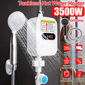 3500W 220V Mini Water Heater Hot Electric Tankless Household Bathroom Faucet with Shower Head LCD Temperature Display