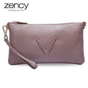 Zency Урожай женского дня Клатчи Шарм Фиолетовый Розовый 100% натуральная кожа Мода Леди Посланник Crossbody Сумка Q1117