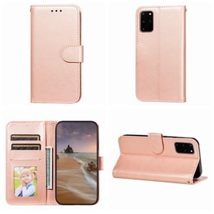 PU Plain Leather Wallet Case For Iphone 12 Pro Mini 11 XS MAX XR X 8 7 Frame Cash Photo ID Card Slot Holder Mobile Phone Flip Cover Strap