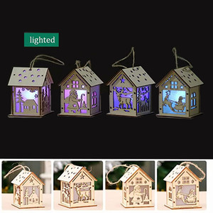 Christmas log cabin Hangs Wood Craft Kit Puzzle Toy Christmas Wood House with candle light bar Home Christmas Decorations gift FWE2883