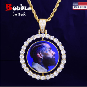 Custom Made Photo Rotating Double-Sided Medallions Pendant Necklace 4mm Tennis Chain Zircon Men's Hip Hop Jewelry 2x1.65 inch J1202