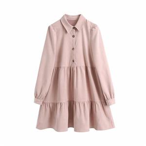 Evfer Autumn Women Casual Za Pink Corduroy Mini Dresses Female Fashion Sprint Long Sleeve Pleated Solid Loose Shirt Dress Chic B1203