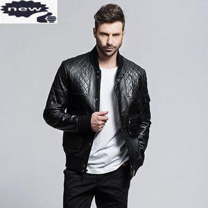 Ретро стройная подходящая овчина из натуральной кожи мужская куртка стенд воротник высокого качества пальто мужской мотоцикл Chaqueas de Cuero Hombre