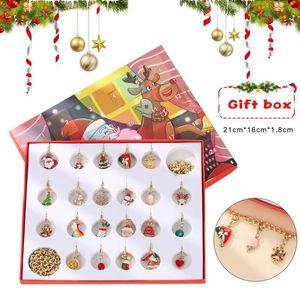 Christmas Advent Calendar Christmas Themed DIY Charm Jewelry Bracelet Necklace Making Kit for Girls LL@17