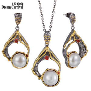 Dreamcarnival1989 New Big Earrings Necklace Set Women Exaggerated Gothic Pearl Jewelry Engagement Party 2020 Hot Pick EP4003S2 Z1201