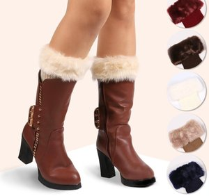 Women Winter Leg Warmers Girls Faux Fur Trim Boot Socks Cuff Short Furry Knit Leg Warmers