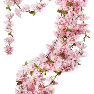 Flores decorativas grinaldas artificiais Sakura Cherry Rattan Casamento Arco Decoração de Videira Decoração Casa Decoração de Seda Hera Garland