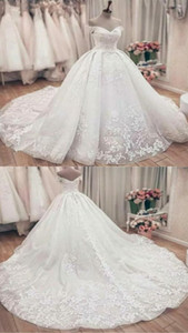 Off Shoulder Ball Gown Lace Tulle Wedding Dresses Sleeveless with Sweep Train Custom Made Romantic Bridal Gown
