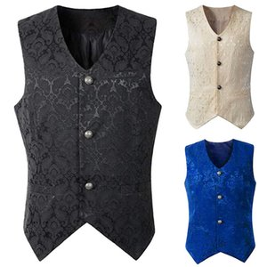 Gentleman Vintage Vest Waistcoat Victorian Black Men Steampunk Gothic Jacquard Male Party Wedding Costume for Men's Blazer Suit