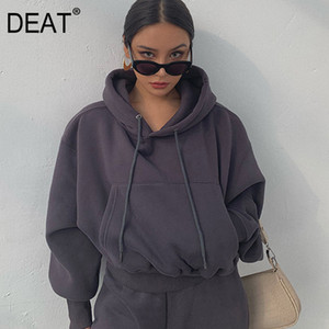 DEAT 2020 New Winter Fashion Women Clothes Hooded Drawstring Pullover Lantern Sleeves Sweatshirt And Track Pants WK0370 LJ201124