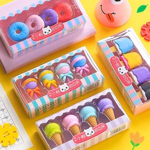 4 unids Borradores de postre deliciosos conjunto Mini Lollipop Icecream Popsicle Donuts Goma Lápiz Eraser para Niños Escuela Estudiante Premio