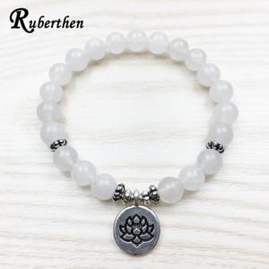 Ruberthen Fashion Women`s Bracelet New Design White Jude Lotus Bracelet Calming Stone Jewelry Healing Intention Mala