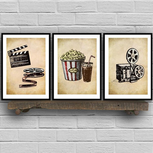 Malereien Kino Theater Vintage Kunst Leinwand Poster Malerei Wandbild Popcorn Film Clapper Print Home Cinema Retro Dekoration1
