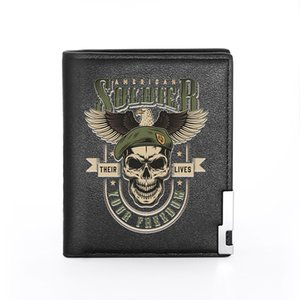 High Quality Soldier Skull Your Freedom Design Wallet Leather Purse Men Women Credit Card Holder Short Male Slim Coin Money Bags