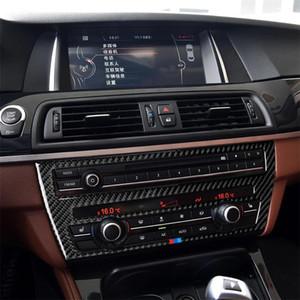 Üç Renk Karbon Fiber Araba CD Panel Merkezi Konsolu Klima Paneli BMW 5 Serisi için Dekoratif Sticker F07 5GT 535i 2010-2016