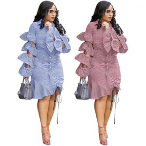 Robes Vestidos de Mujer Volants Femmes Vêtements Sexy Hollow Out Stacked Robe empilée Mode Casual Mini