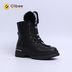Clibee Kızlar Sıcak Kış Kar Botları Çocuklar PU Deri Orta Buzağı Martin Çizmeler Yün Astar Kalınlaşmak Ayakkabı Çocuklar Yürüyüş Boot Y1117