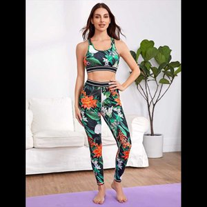 Womens 2 Pieces Yoga Workout Sets High Waist Printed Outdoor Sports Bra Top and Leggings Athletic Set
