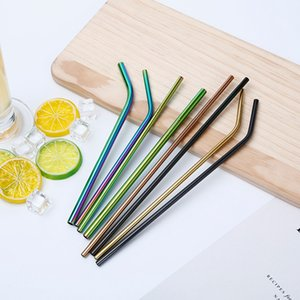 Wholesale Rainbow Multi-Colored Stainless Steel Straws 8.5inch Straight Bent Reusable Metal Straws Cheap Drinking Straws For Mason Jars
