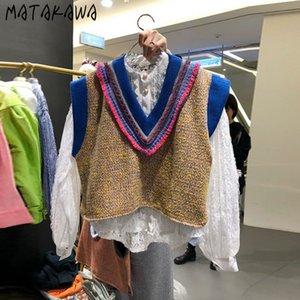 Matakawa Slim Slim Sweater Chalecos El otoño del otoño de Corea NUEVO DUFFLE Cuello con el cuello en V Sin niveles de chaleco 201214