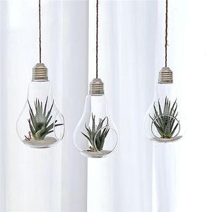 24 X D8*13cm Hanging Terrarium Flower Plant Glass Vase Light Bulb Shape Home Wedding Decor