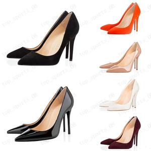 Chaud avec boîte Mode Femmes Chaussures Fond Red Fond High Talons 8cm10cm 12cm Nu noir Noir Cuir Rose Rose Rose Pompe Pompes Pompes Chaussure 35-45