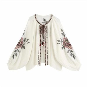 2020 New Women Cardigan Beaded Embroidery Long balloon sleeves Blouse Vintage Fashion Tops Femme Mujer Blouse