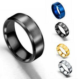 Stainless steel double beveled edge frosted ring European and American fashion men's drawing titanium steel ring