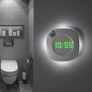 Motion Sensor LED Light Night Clock Bedroom Magnet Digital Wall Clock Bathroom Night Watch Gravity Sensor Lamp For Night 201202