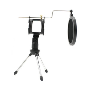 New Universal Foldable Adjustable Microphone Stand Desktop Tripod for Computer Video Recording with Mic Windscreen Pop Filter Cover