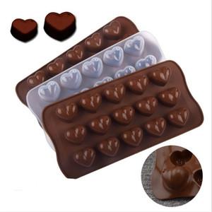 Sevgililer Günü 15 Delik Kalp Şeklinde Kek Çikolata Silikon Kalıp Mini DIY Mutfak Süslemeleri Araçları Düğün El Yapımı Şeker Kalıpları G11303