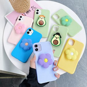 Cute Cartoon Flower Holder Soft Phone Case For iPhone 12 11 Pro Max X XR XS Max 6 6S 7 8 Plus SE 2020 Fruit Avocado Stand cover