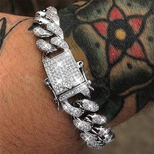 2020 Золото Браслеты серебряные ювелирные изделия Алмазный Iced Out Сеть Майами кубинский Link Chain Mens браслет Hip Hop ювелирные изделия