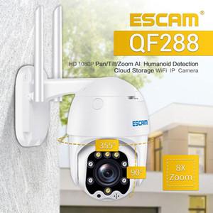 ESCAM QF288 H.265X 1080P Pan Tilt 8X Zoom AI Humanoid Detection Cloud Storage Waterproof WiFi IP Camera Onvif Two Way Audio Cam